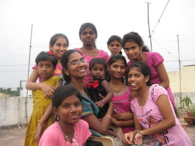 Angelene with kids in Chennai