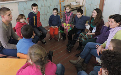 Group of kids in Moldova Community Center